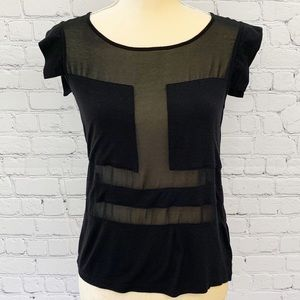 ASOS - Sexy Sheer Black Panel Blouse Top, Sz 2